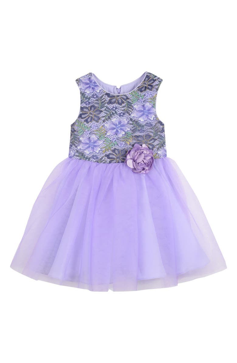 PIPPA & JULIE Enchanted Forest Lace Ballerina Dress, Main, color, PURPLE