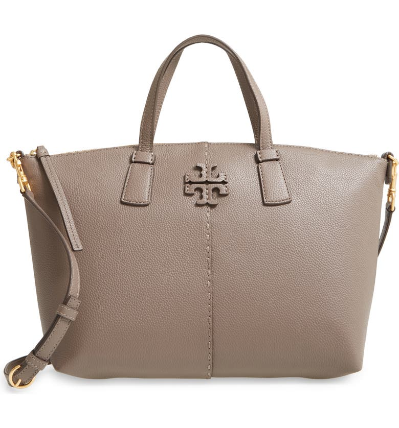 TORY BURCH McGraw Leather Satchel, Main, color, SILVER MAPLE