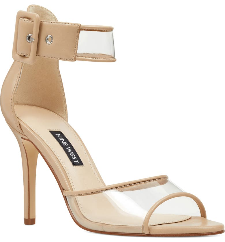NINE WEST Mila Clear Strap Sandal, Main, color, CAMEL LEATHER