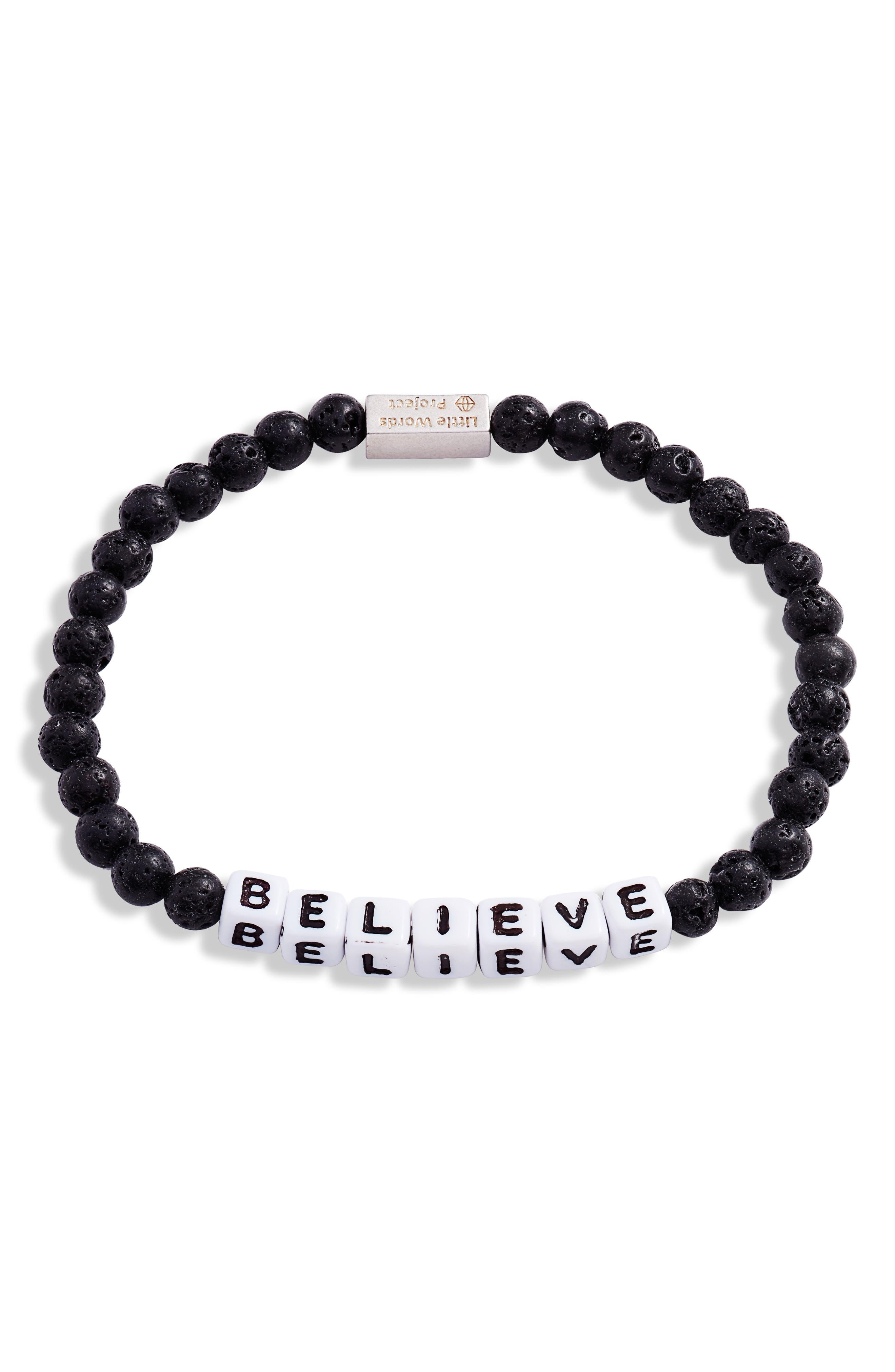 Believe Beaded Stretch Bracelet