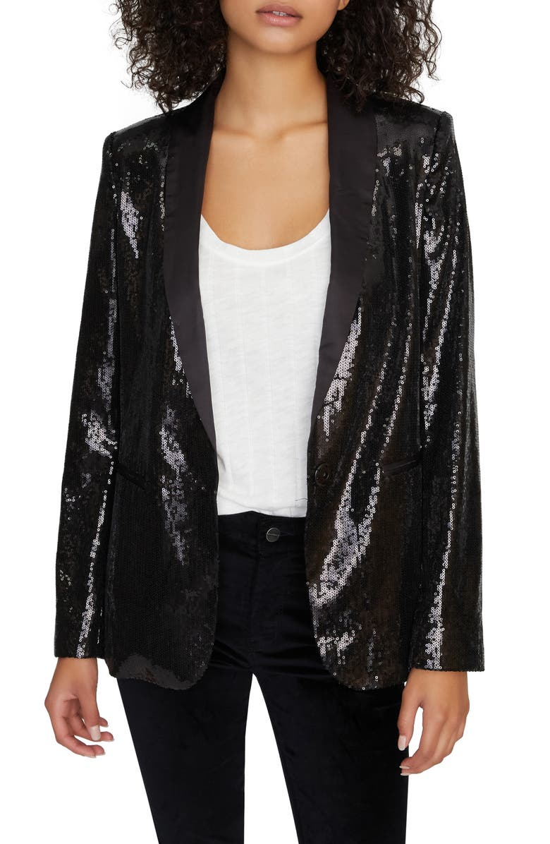 SANCTUARY Shine On Sequin Blazer, Main, color, 012