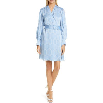 Equipment Fanetta Geo Print Belted Long Sleeve Wrap Dress, Blue