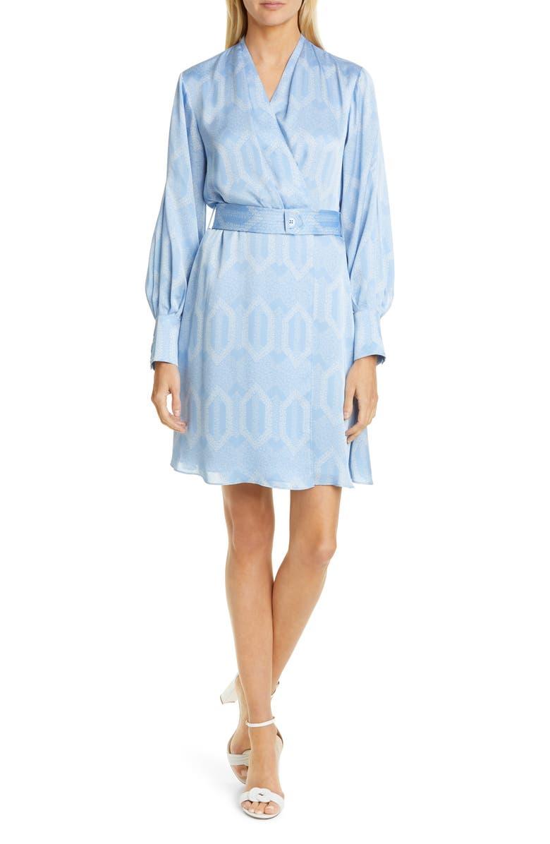 EQUIPMENT Fanetta Geo Print Belted Long Sleeve Wrap Dress, Main, color, DELLA ROBBIA BLUE/ BLUE AERE