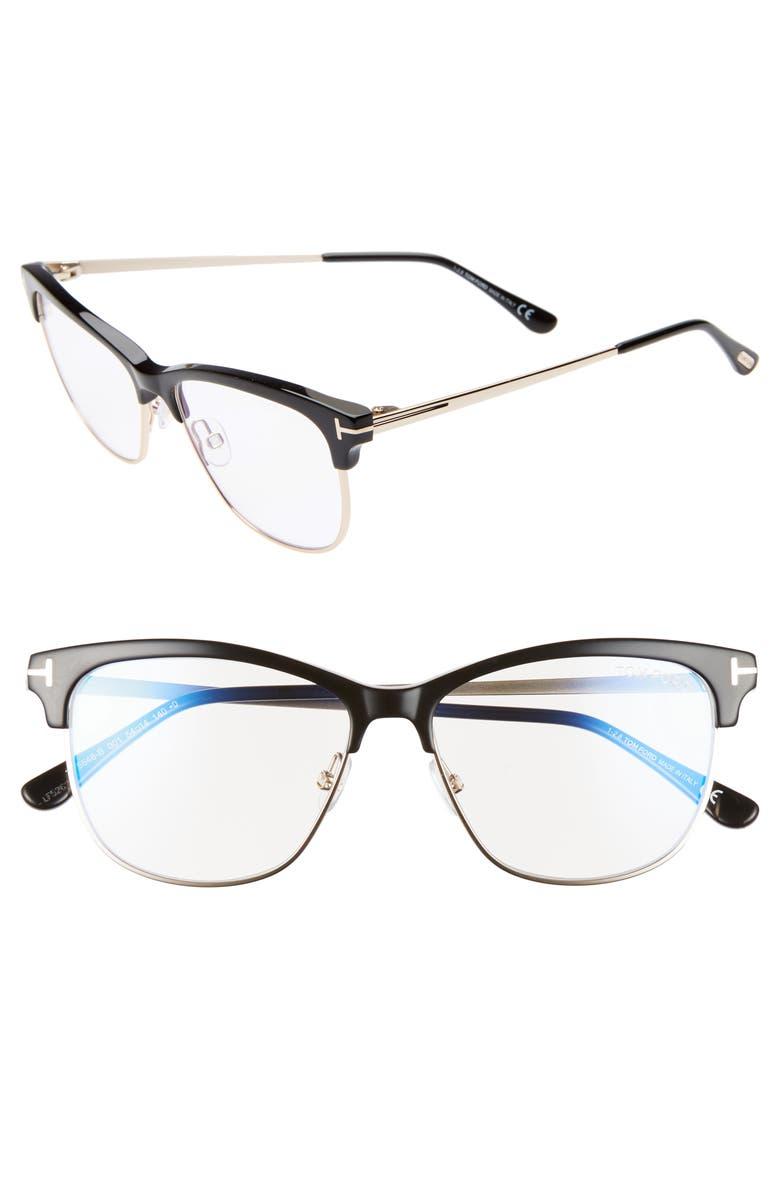 TOM FORD 54mm Blue Light Blocking Glasses, Main, color, BLACK/ GOLD