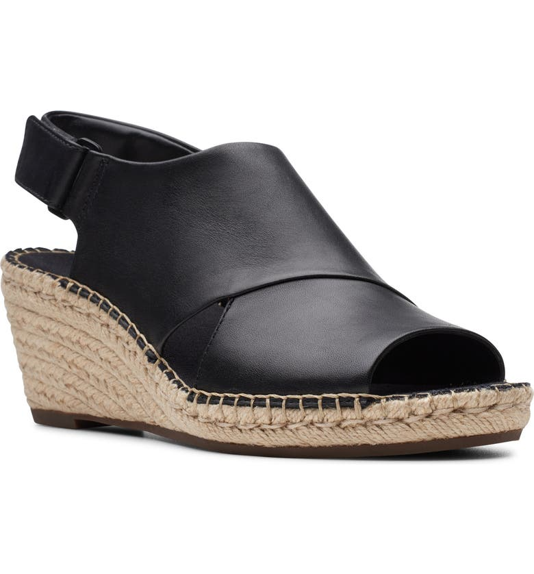 CLARKS<SUP>®</SUP> Petrina Abby Espadrille Wedge, Main, color, BLACK LEATHER