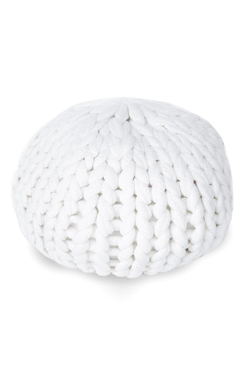 UNCOMMON JAMES BY KRISTIN CAVALLARI Knit Poof Pillow, Main, color, WHITE