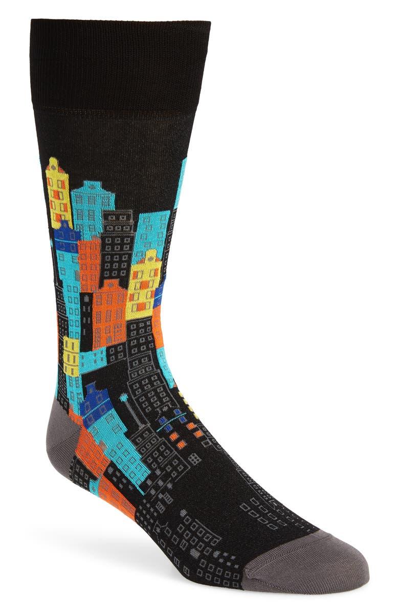 BUGATCHI Cityscape Cotton Blend Socks, Main, color, BLACK