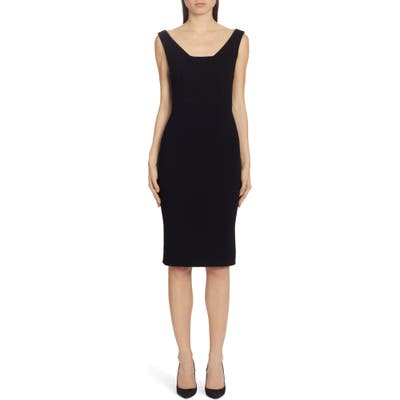 Dolce & gabbana Square Neck Wool Crepe Sheath Dress, 8 IT - Black