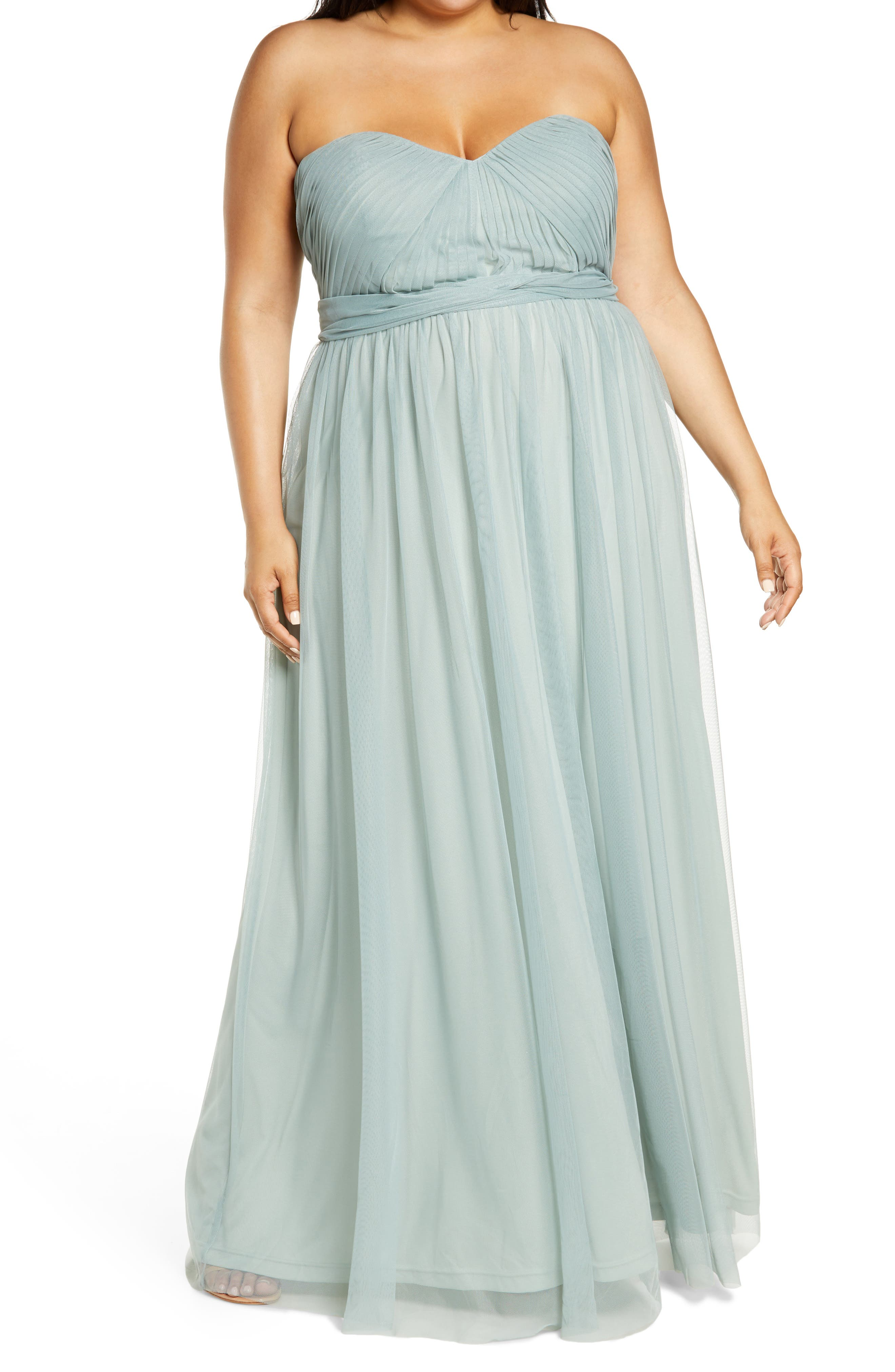 Plus Size Swing Dresses, Vintage Dresses Womens Birdy Grey Christina Convertible Tulle Gown Size XX-Large - Green $99.00 AT vintagedancer.com
