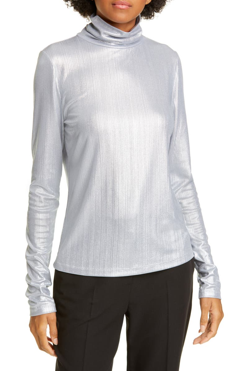 KATE SPADE NEW YORK metallic ribbed turtleneck top, Main, color, MOONGLOW