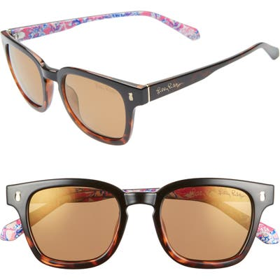 Lilly Pulitzer Josie Rectangular Sunglasses - Black To Tortoise/ Gold Flash