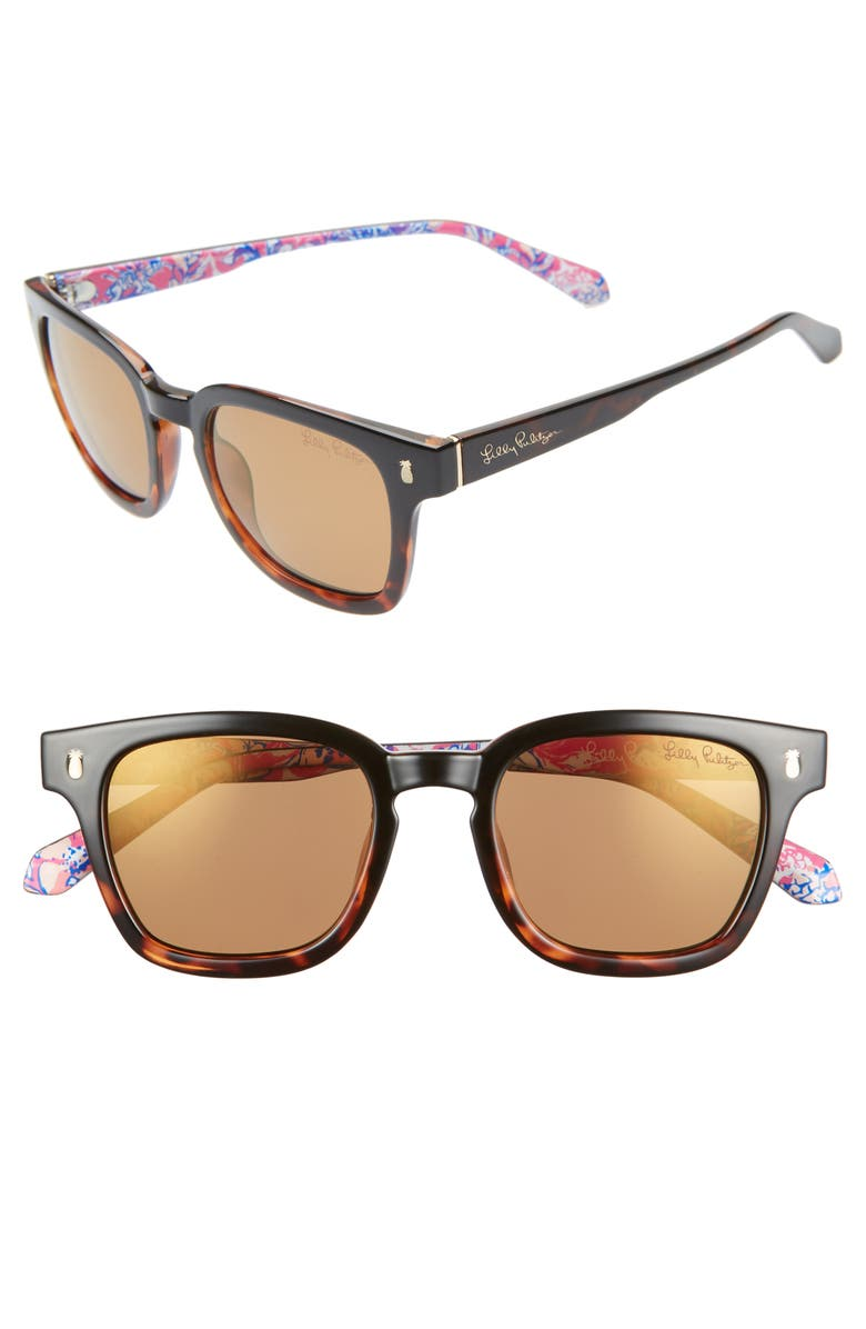 LILLY PULITZER<SUP>®</SUP> Josie 48mm Rectangular Sunglasses, Main, color, BLACK TO TORTOISE/ GOLD FLASH