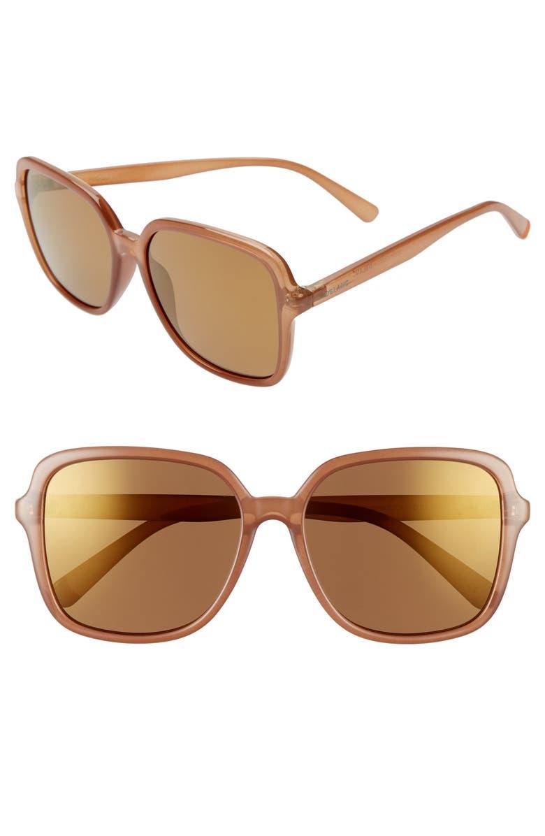 D'BLANC Magnolia 58mm Polarized Mirrored Square Sunglasses, Main, color, 200
