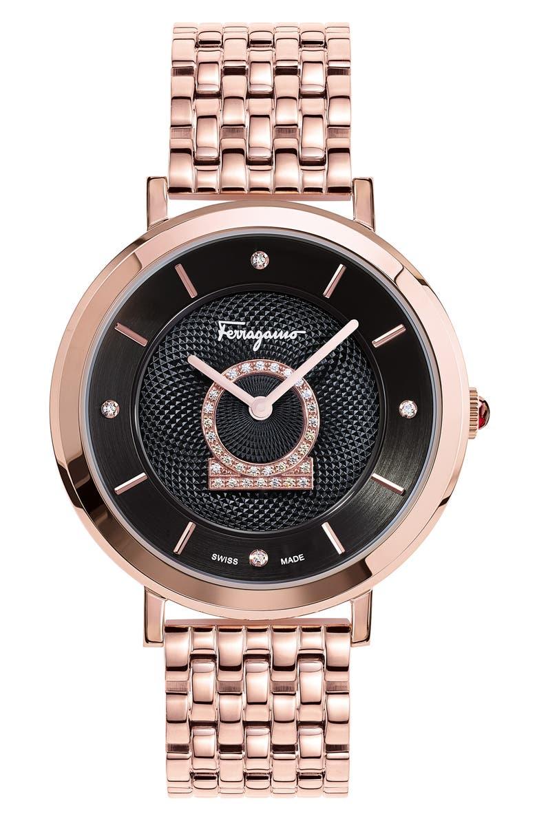 SALVATORE FERRAGAMO Minuetto Diamond Bracelet Watch, 36mm, Main, color, ROSE GOLD/ BLACK/ ROSE GOLD