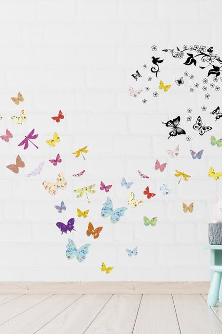 Image of WalPlus Colourful Floral Butterfly Wall Decor