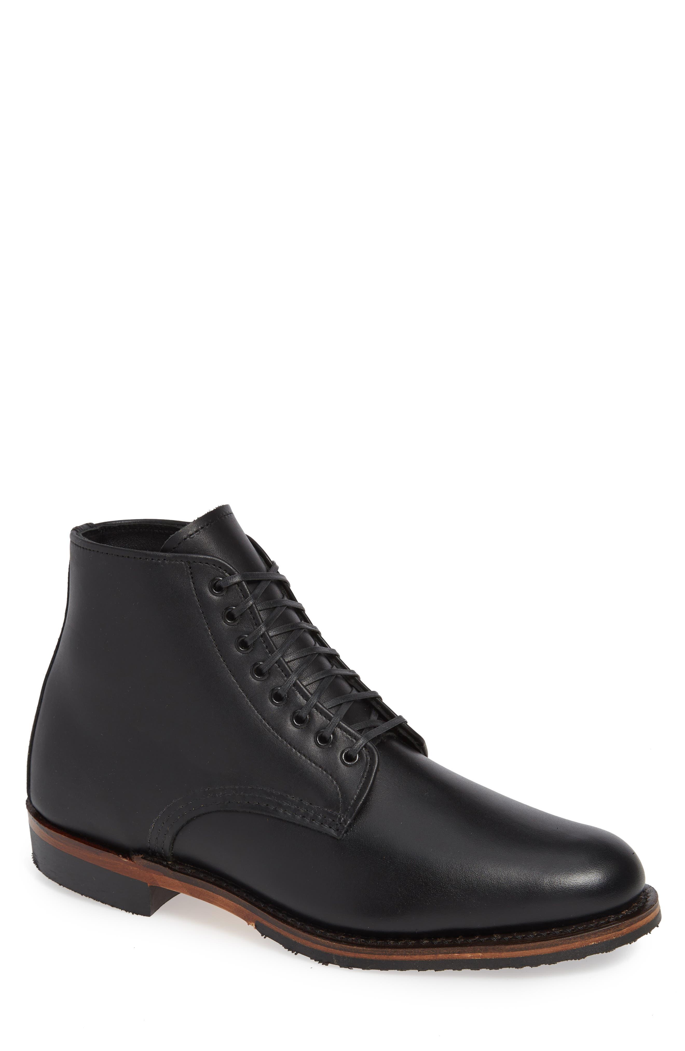 Williston Plain Toe Boot, Main, color, BLACK LEATHER