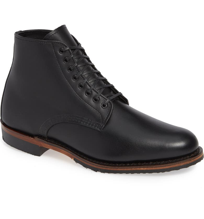 RED WING Williston Plain Toe Boot, Main, color, BLACK LEATHER