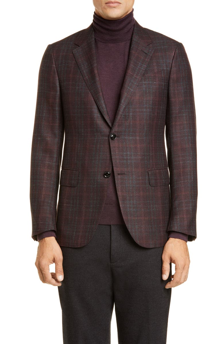 ERMENEGILDO ZEGNA Milano Classic Fit Plaid Cashmere Blend Sport Coat, Main, color, DARK BROWN