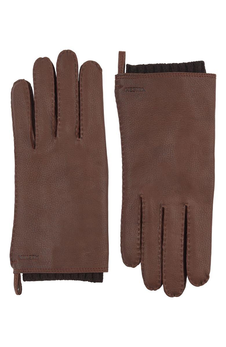 HESTRA 'Tony' Deerksin Leather Gloves, Main, color, CHOCOLATE
