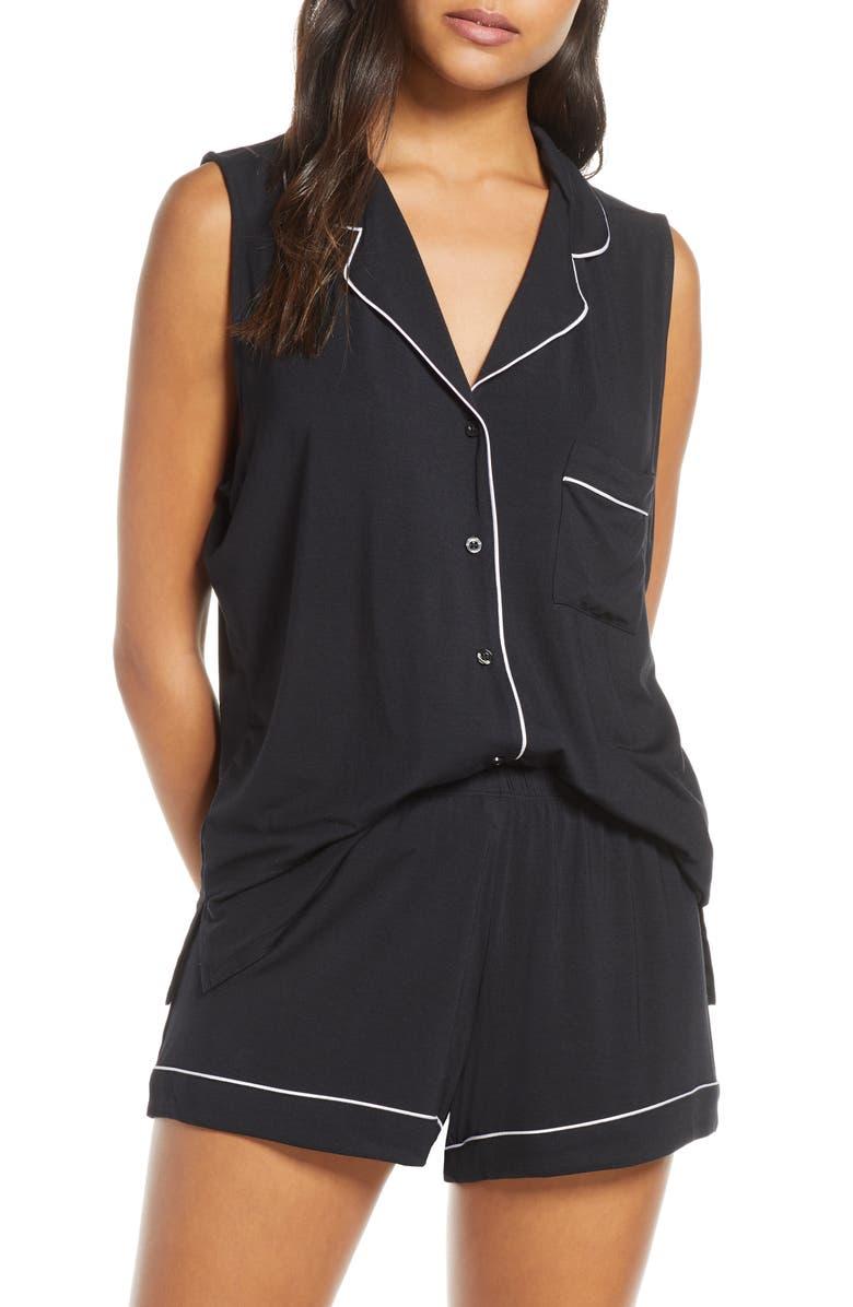 NORDSTROM LINGERIE Moonlight Short Pajamas, Main, color, BLACK