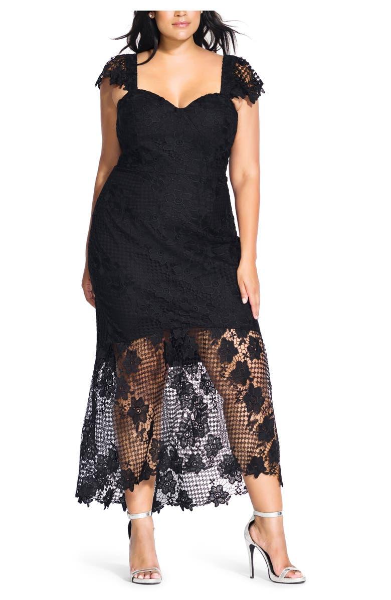 CITY CHIC Leonie Lace Mermaid Dress, Main, color, BLACK