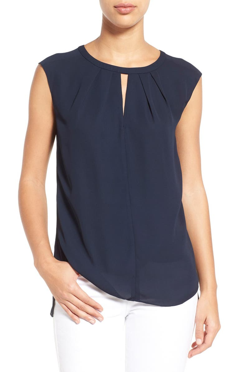 CECE by Cynthia Steffe Pleat Keyhole Neck Blouse, Main, color, 068