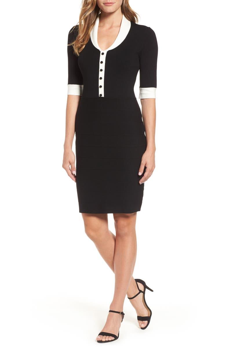 ANNE KLEIN Shawl Collar Knit Sheath Dress, Main, color, ANNE BLACK/ ANNE WHITE
