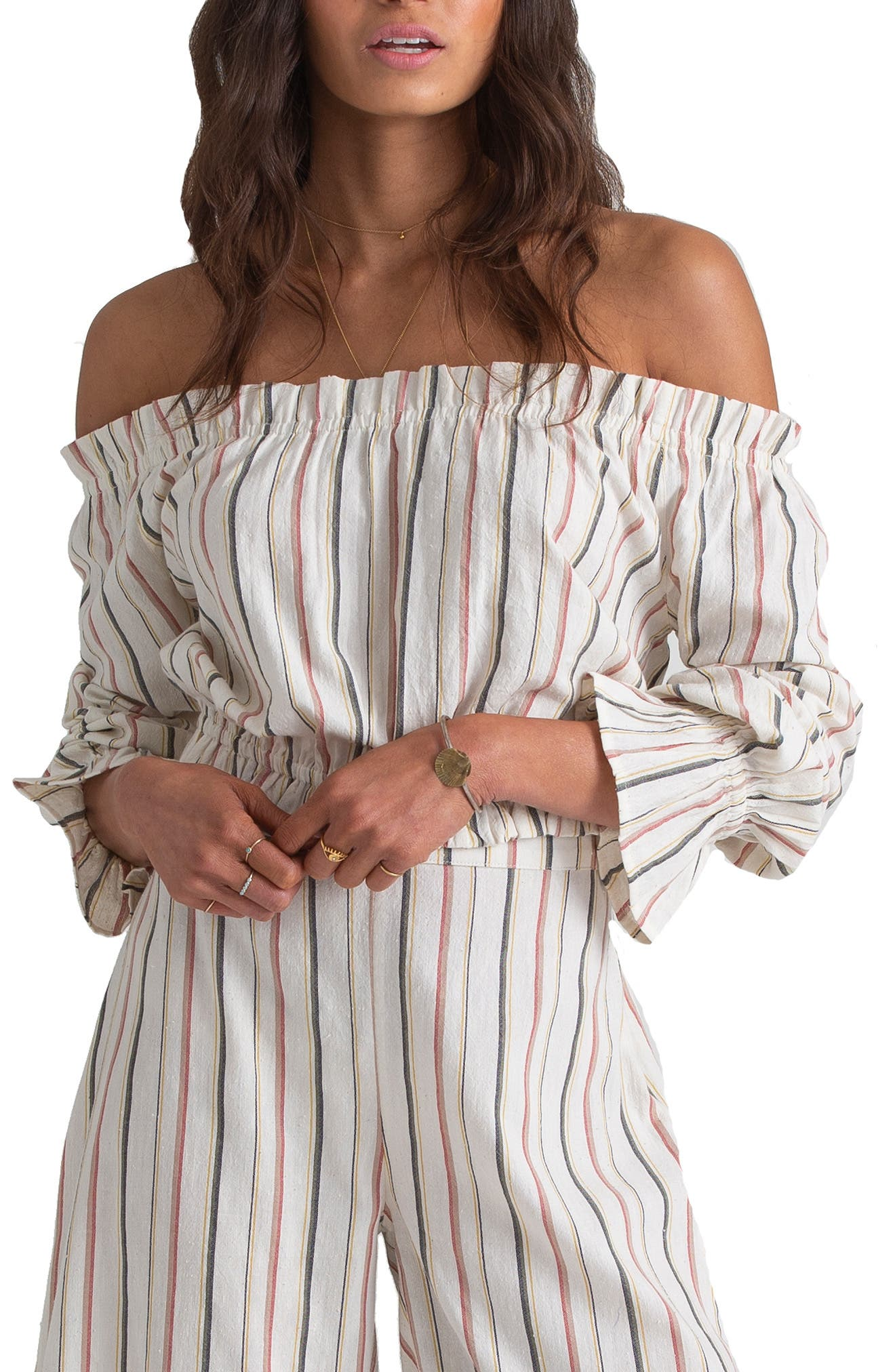 x Sincerely Jules Tulum Weathers Off-the-Shoulder Crop Top, Main, color, MULTI