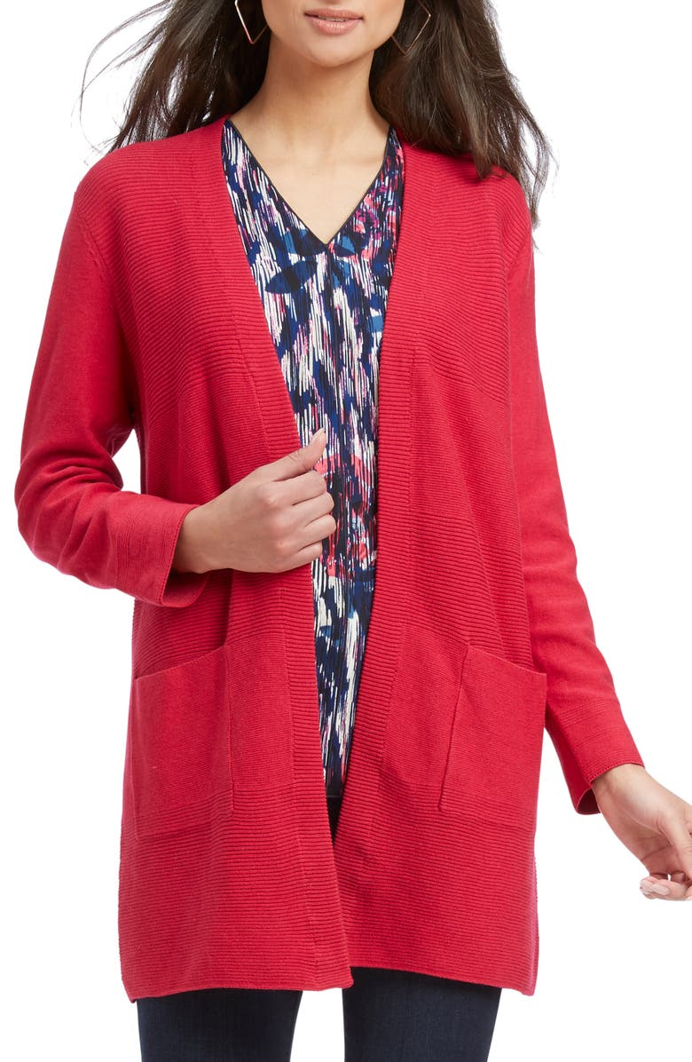 NIC+ZOE Tipped Cardigan, Main, color, DEEP BERRY HEATHER