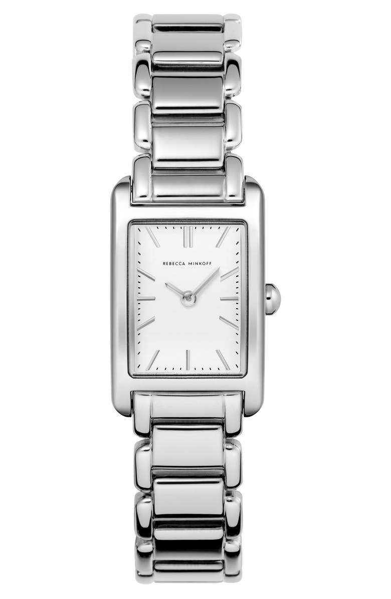 REBECCA MINKOFF Moment Bracelet Watch, 19mm x 30mm, Main, color, SILVER