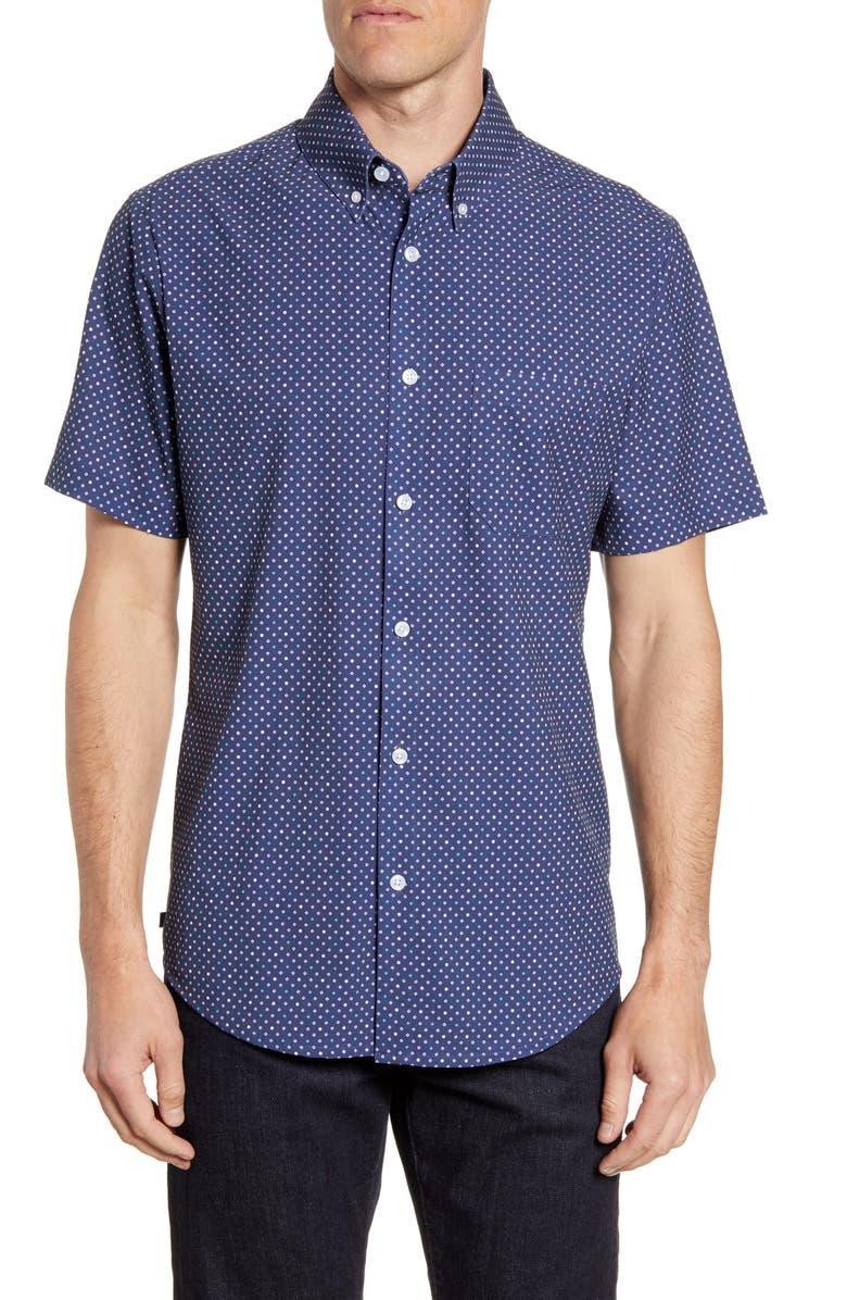MIZZEN+MAIN Trim Fit Print Short Sleeve Button-Down Performance Sport Shirt, Main, color, 412