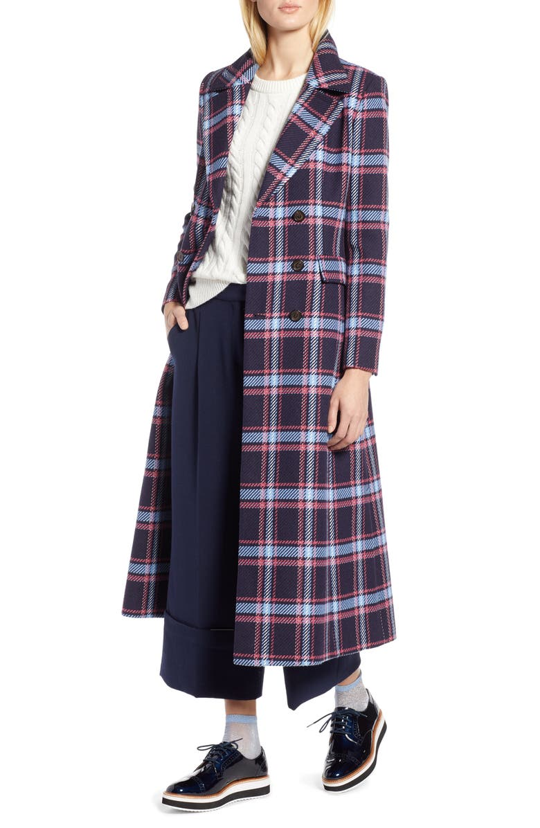 HALOGEN<SUP>®</SUP> x Atlantic-Pacific Long Plaid Coat, Main, color, 410