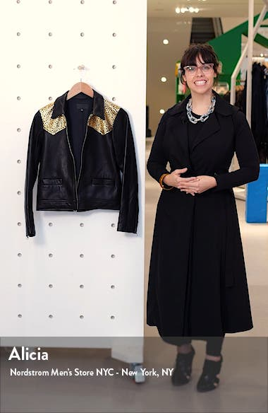Leopard Print Yoke Leather Jacket, sales video thumbnail