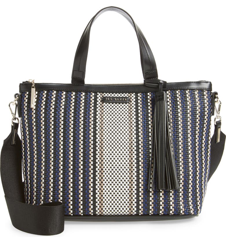 TED BAKER LONDON Aylah Small Woven Tote, Main, color, BLUE