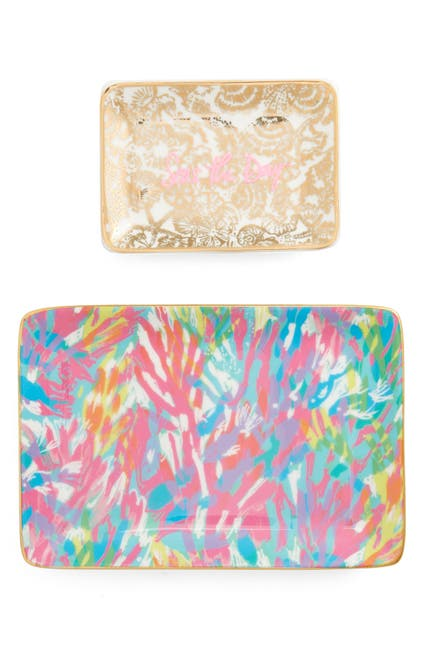 Image of Lilly Pulitzer Set of 2 Ceramic Trinket Trays