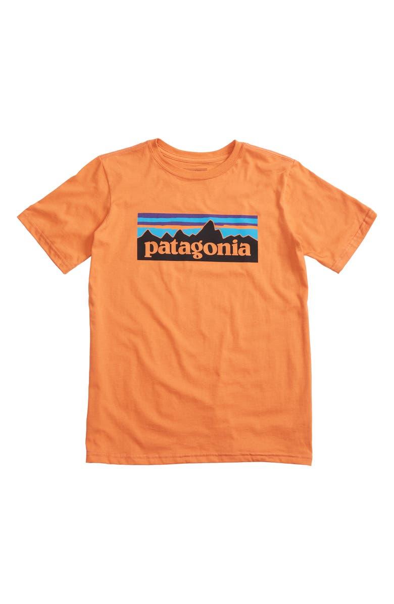 PATAGONIA P-6 Logo Organic Cotton T-Shirt, Main, color, SUNSET ORANGE