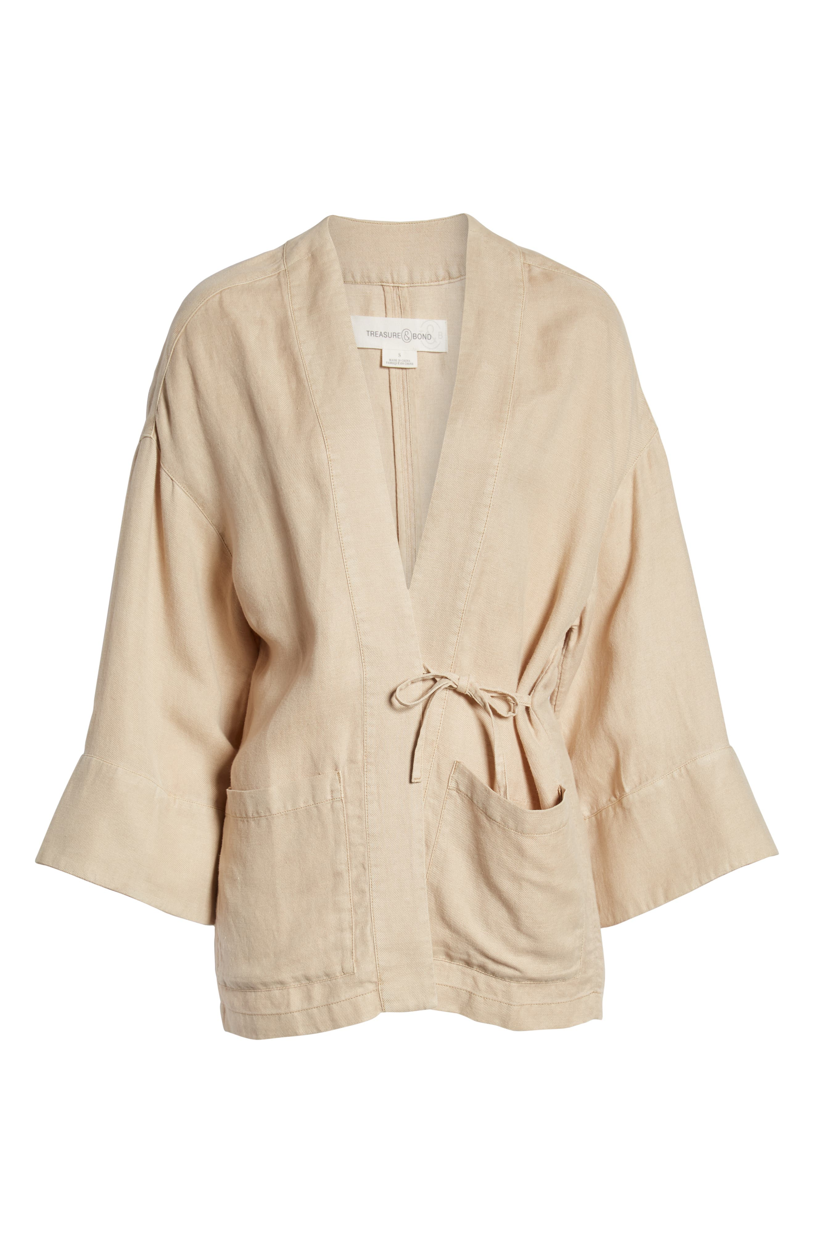 ,                             Linen Blend Wrap Jacket,                             Alternate thumbnail 7, color,                             BEIGE BIRCH