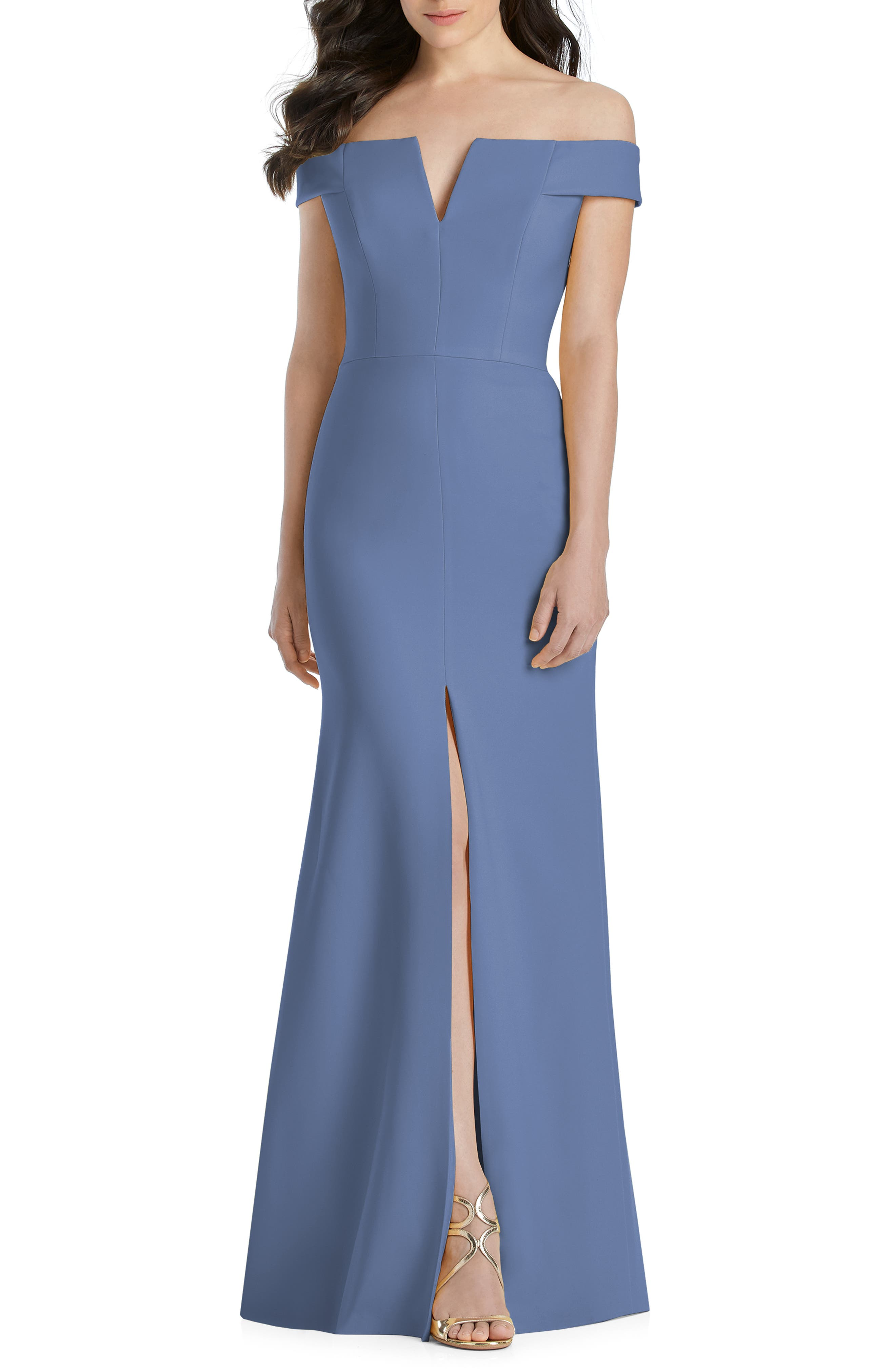 Dessy Collection Notched Off The Shoulder Crepe Gown, Blue