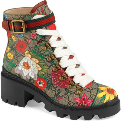 Gucci Trip Gg Floral Gg Supreme Combat Boot - Beige