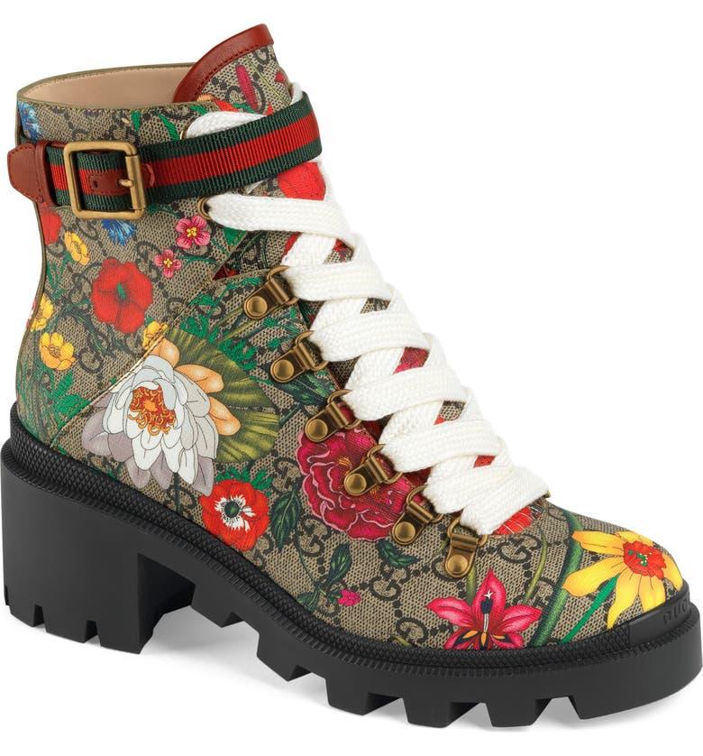 GUCCI Trip GG Floral GG Supreme Combat Boot, Main, color, MULTI COLOR FABRIC