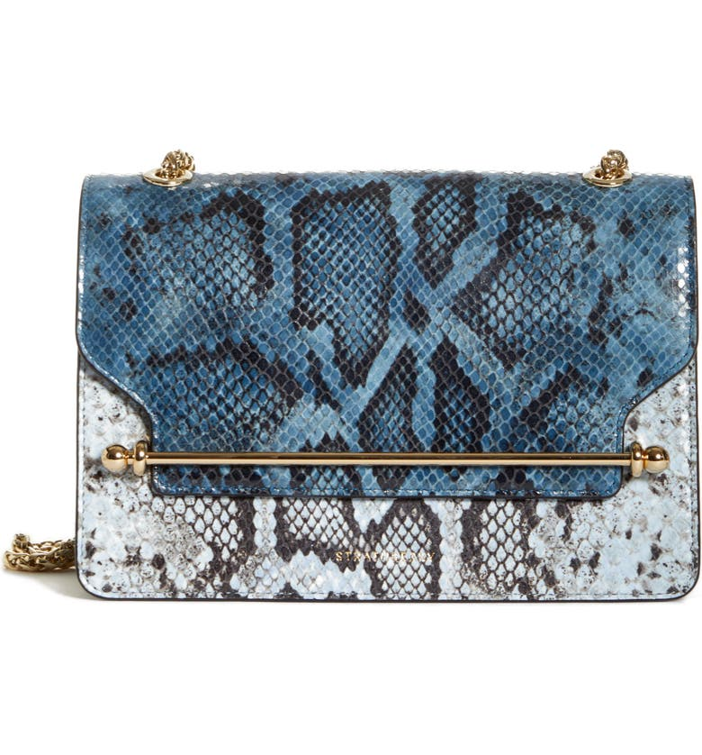 STRATHBERRY The East/West Snake Embossed Goatskin Leather Crossbody Bag, Main, color, ALICE BLUE/ ILLUSION BLUE