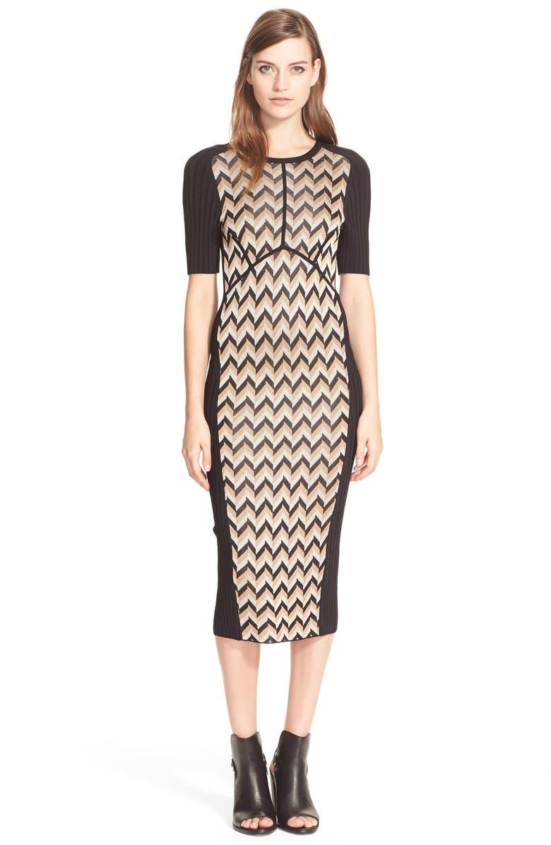 RAG & BONE 'Elaine' Chevron Inset Knit Sheath Dress, Main, color, 904