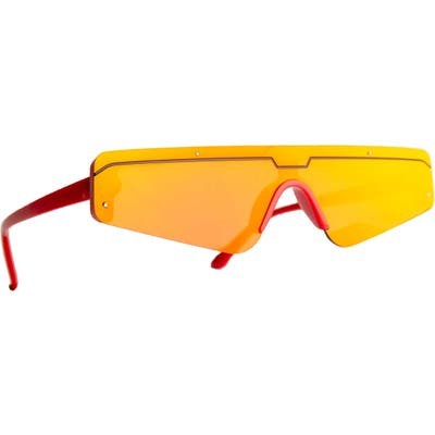 Rad + Refined Cyberfunk Sport Flat Top Shield Sunglasses - Red/ Yellow Lens