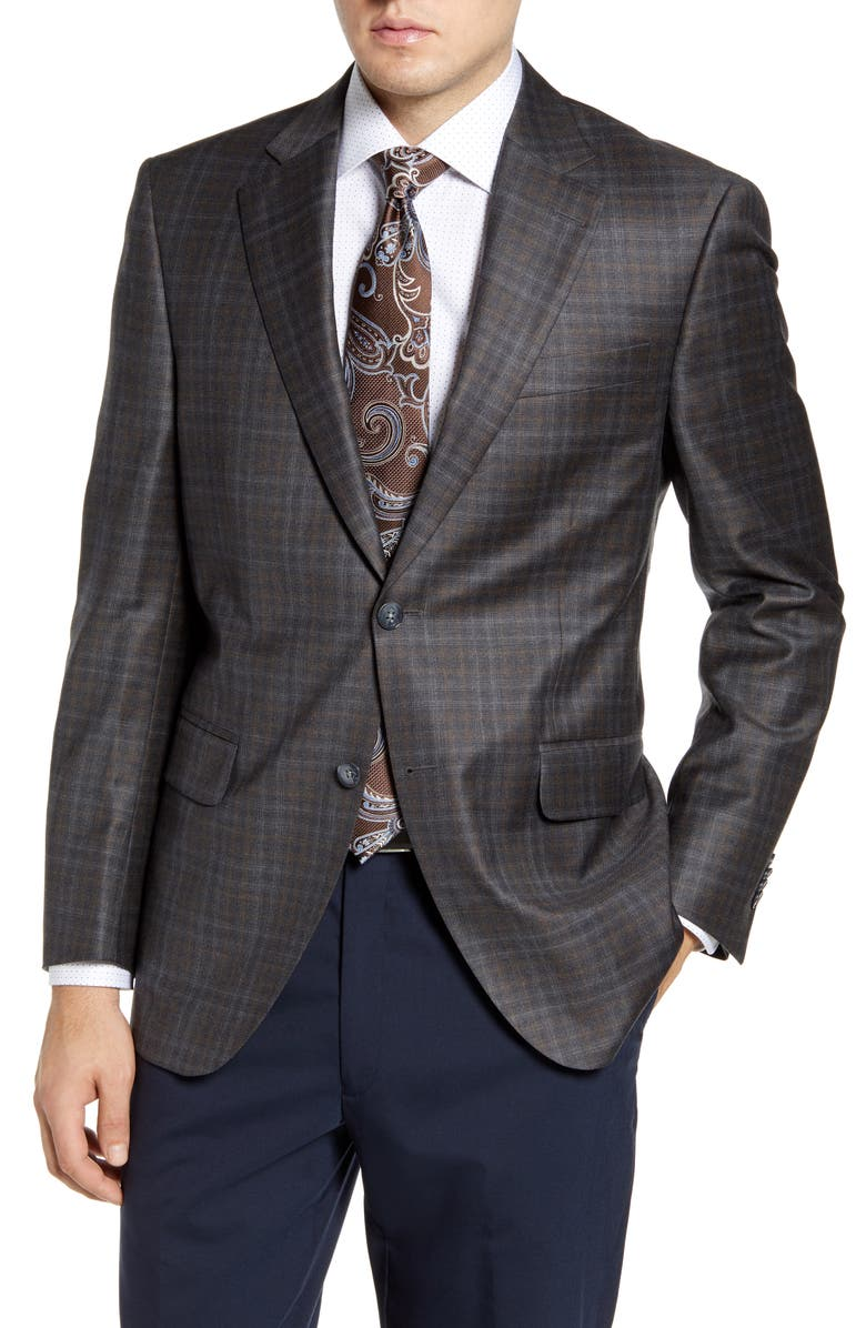 PETER MILLAR Flynn Classic Fit Check Wool Sport Coat, Main, color, GREY