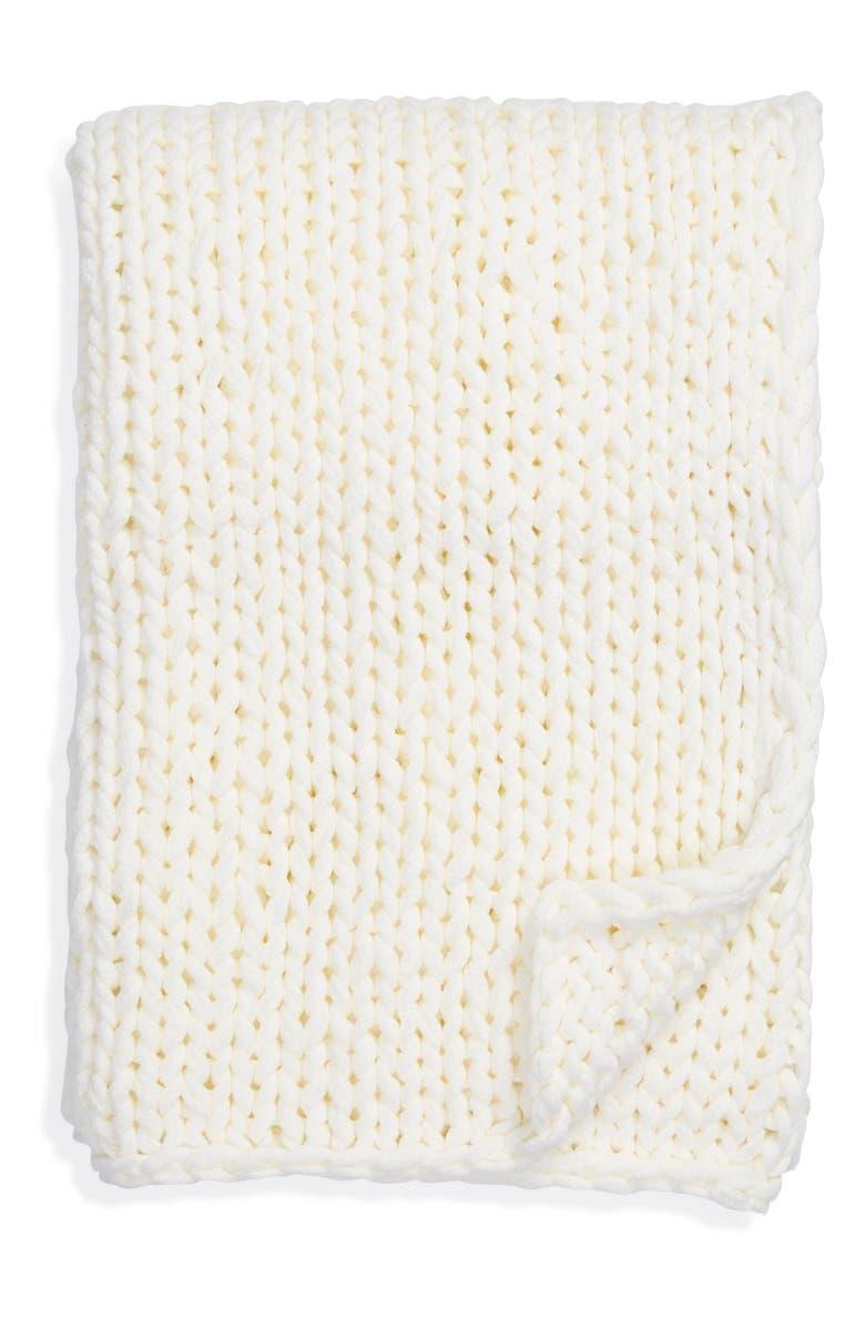 TREASURE & BOND Jersey Rope Throw Blanket, Main, color, WHITE