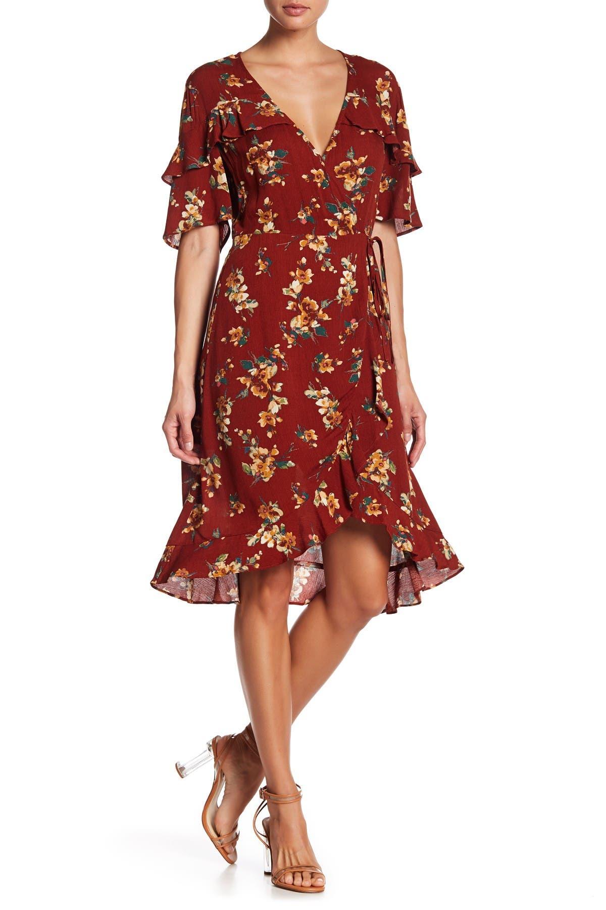 Image of Blu Pepper Ruffle Floral Wrap Dress