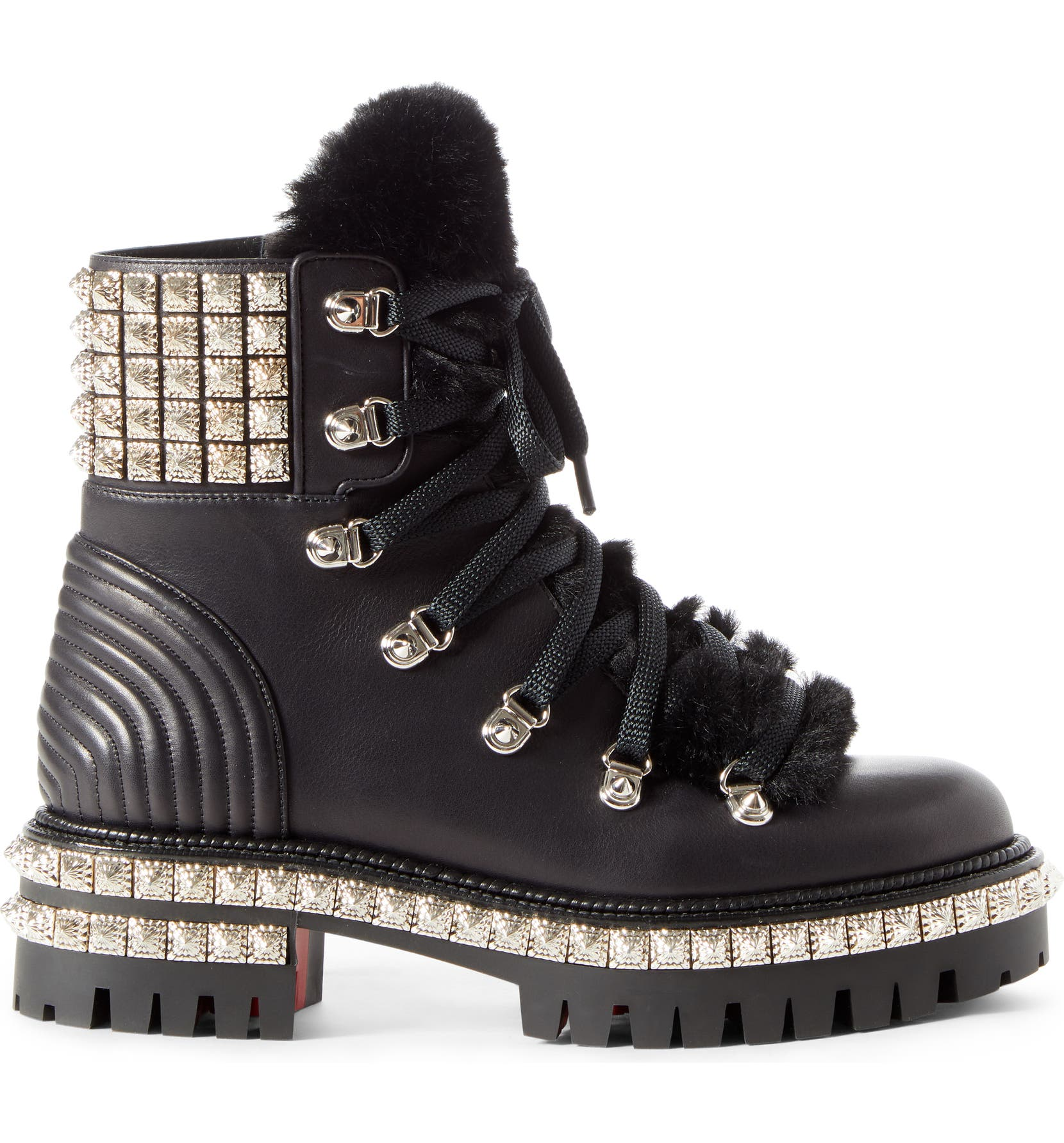 9c1677beb18 Christian Louboutin Yeti Studded Hiking Boot with Faux Fur Trim ...