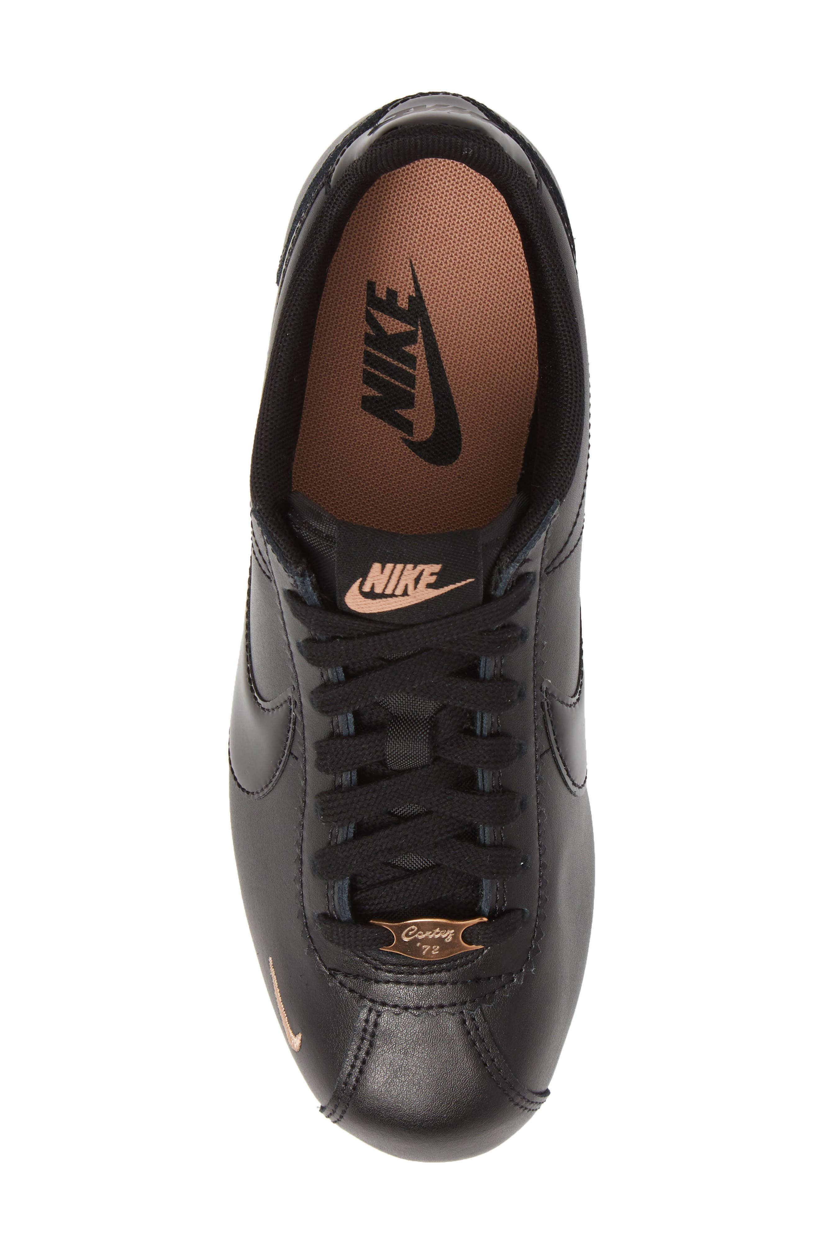 ,                             Classic Cortez Premium XLV Sneaker,                             Alternate thumbnail 5, color,                             BLACK/ BLACK/ ROSE GOLD