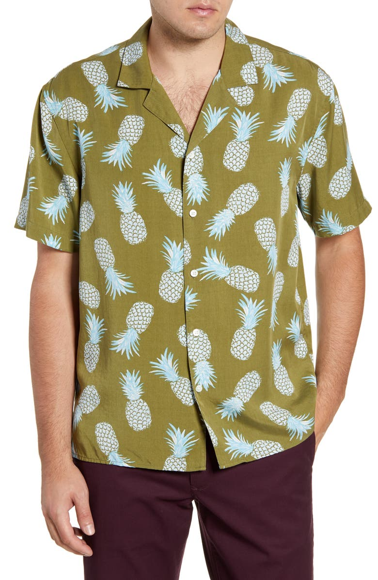 BONOBOS Cabana Slim Fit Short Sleeve Button-Up Camp Shirt, Main, color, PINEAPPLE