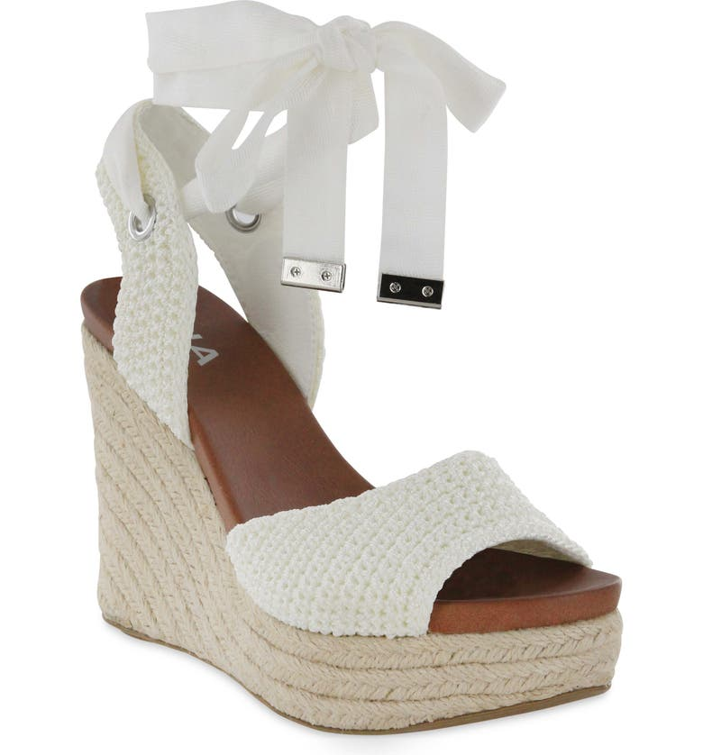 MIA Yanet Espadrille Platform Wedge Sandal, Main, color, WHITE FABRIC